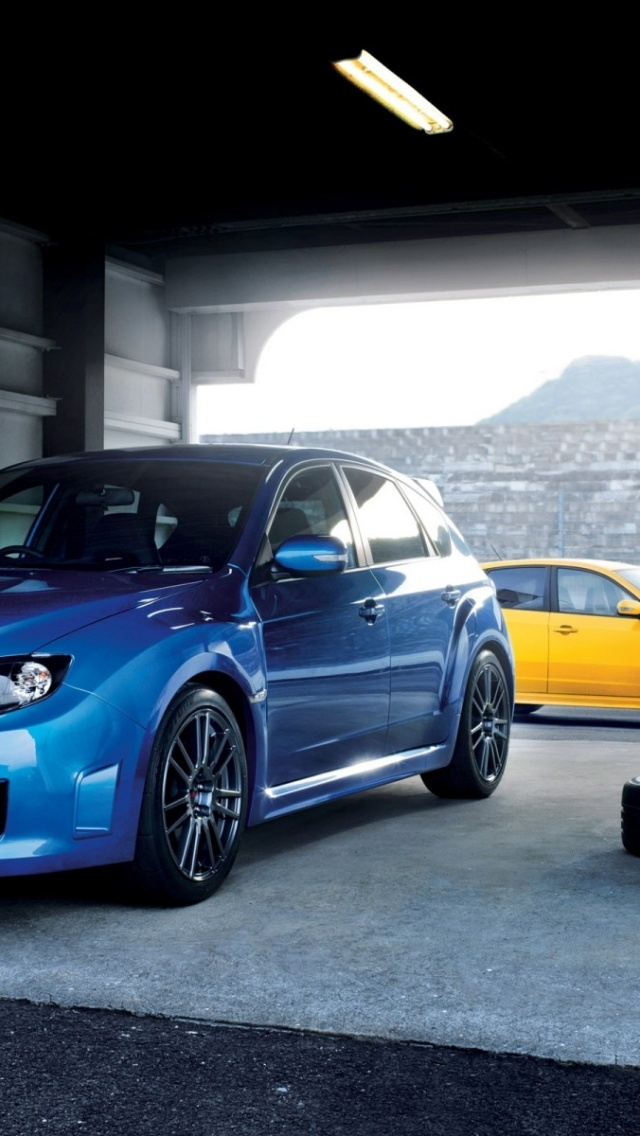 640x1136 Blue And Yellow Subaru Wrx Sti Iphone 5 Wallpaper