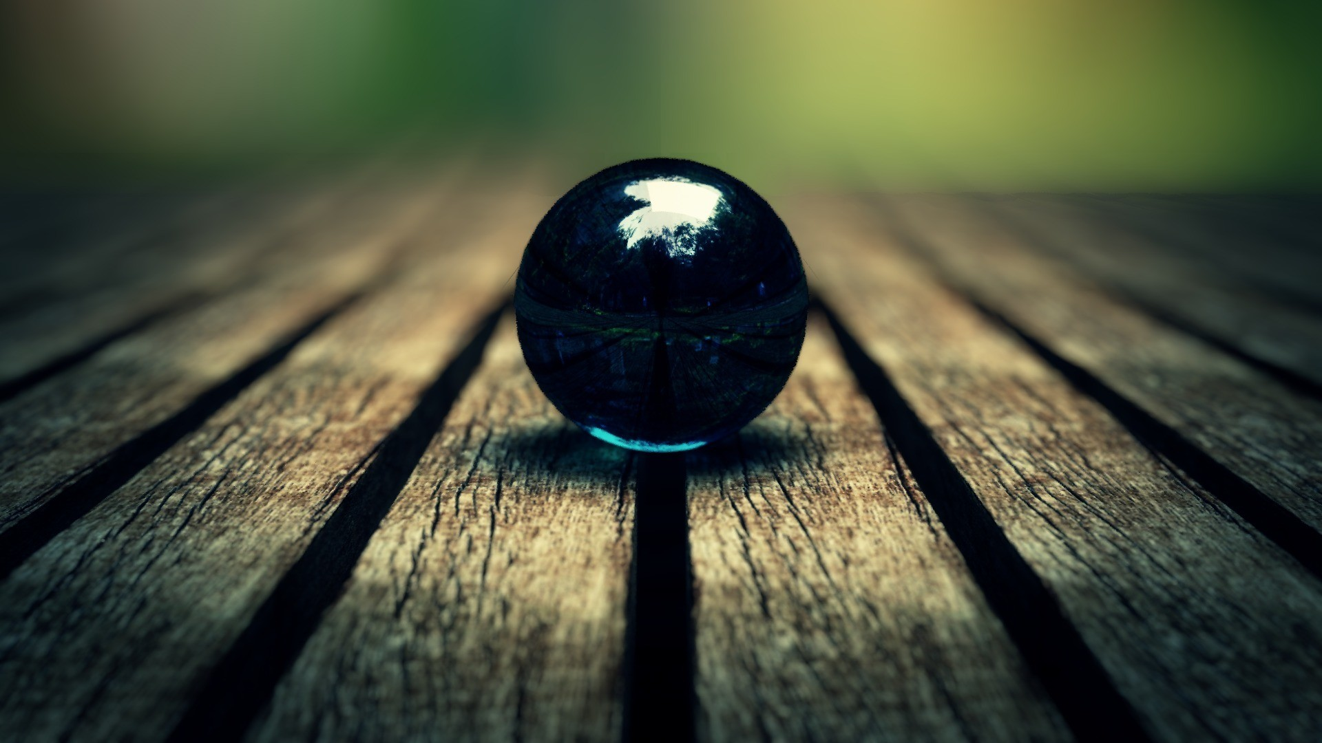 1920x1080 Blue Ball With Green Reflections Desktop Pc And
