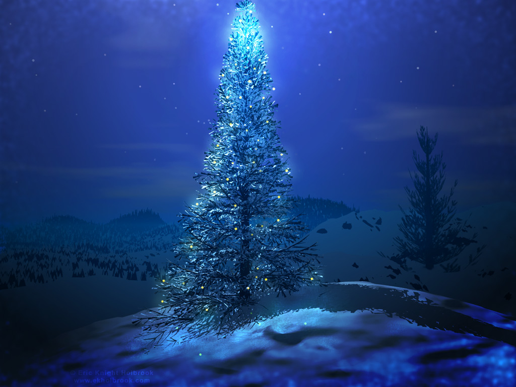 Vector green christmas tree - desktop wallpapers
