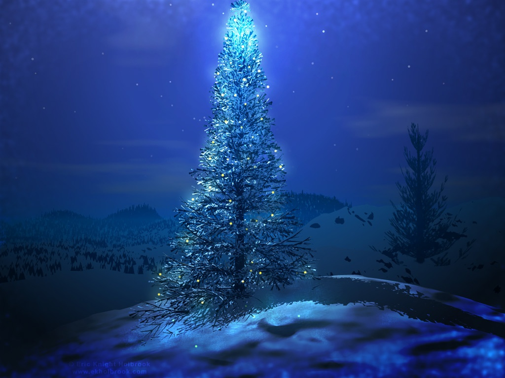 1024x768 Blue Christmas Tree Desktop PC And Mac Wallpaper