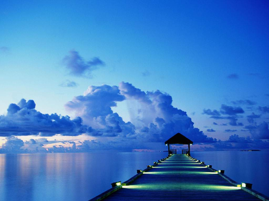 1024x768 Blue Dock Desktop PC And Mac Wallpaper