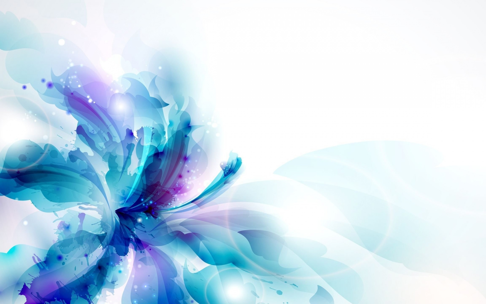 Blue Flower Drawing Abstract Wallpapers
