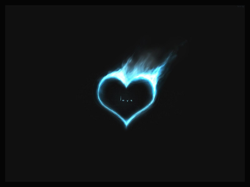 1024x768 Blue heart in fire