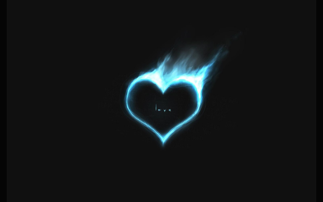 1280x800 Blue heart in fire