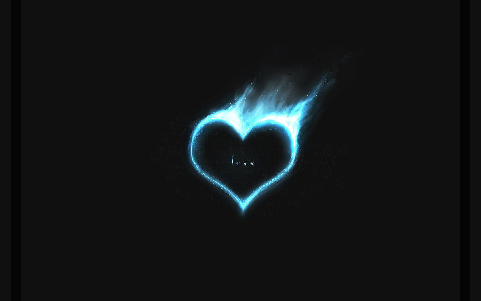 1680x1050 Blue heart in fire