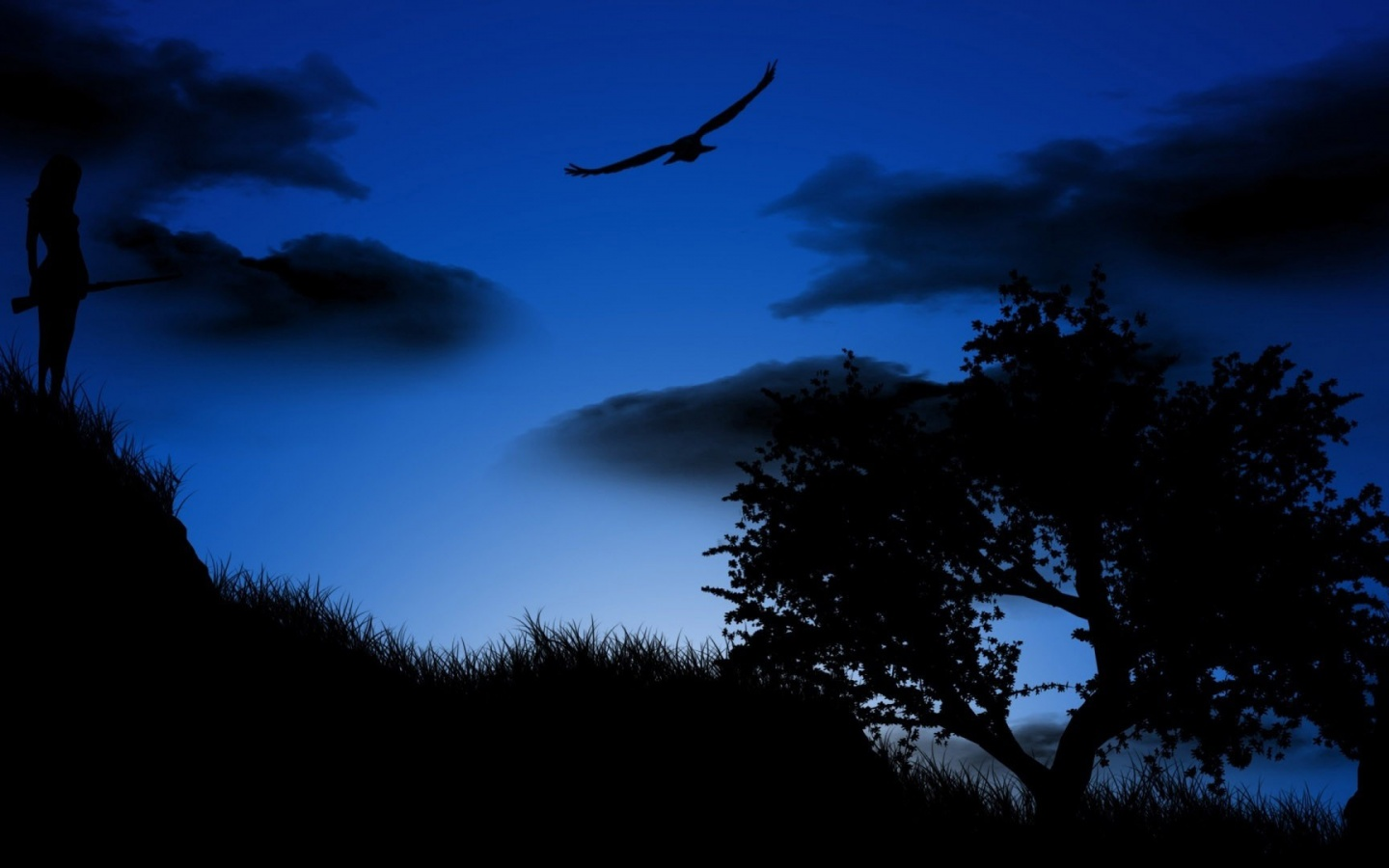 1440x900 Blue night, tree, bird, cloud, digital-art