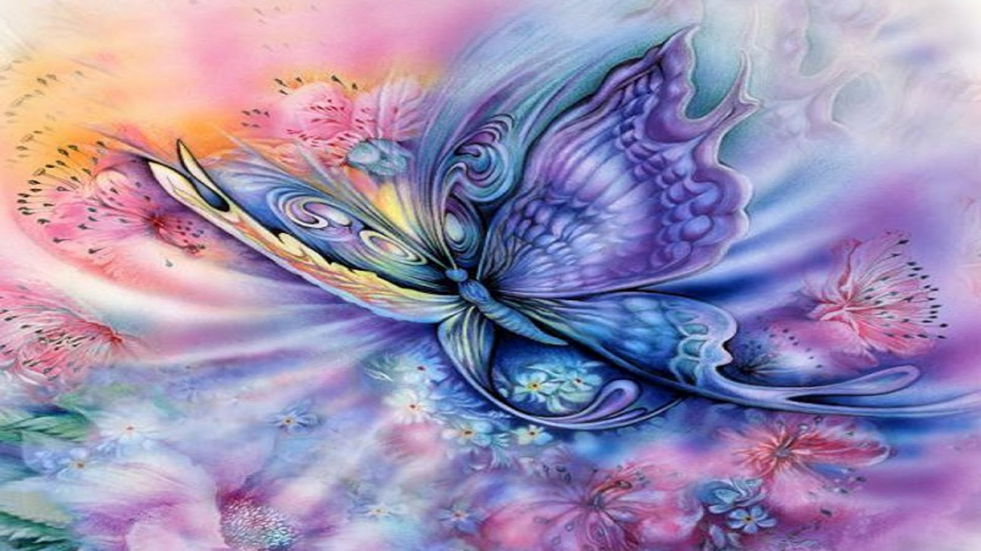 1920x1080 Blue Purple Butterfly &amp Floral Desktop PC And