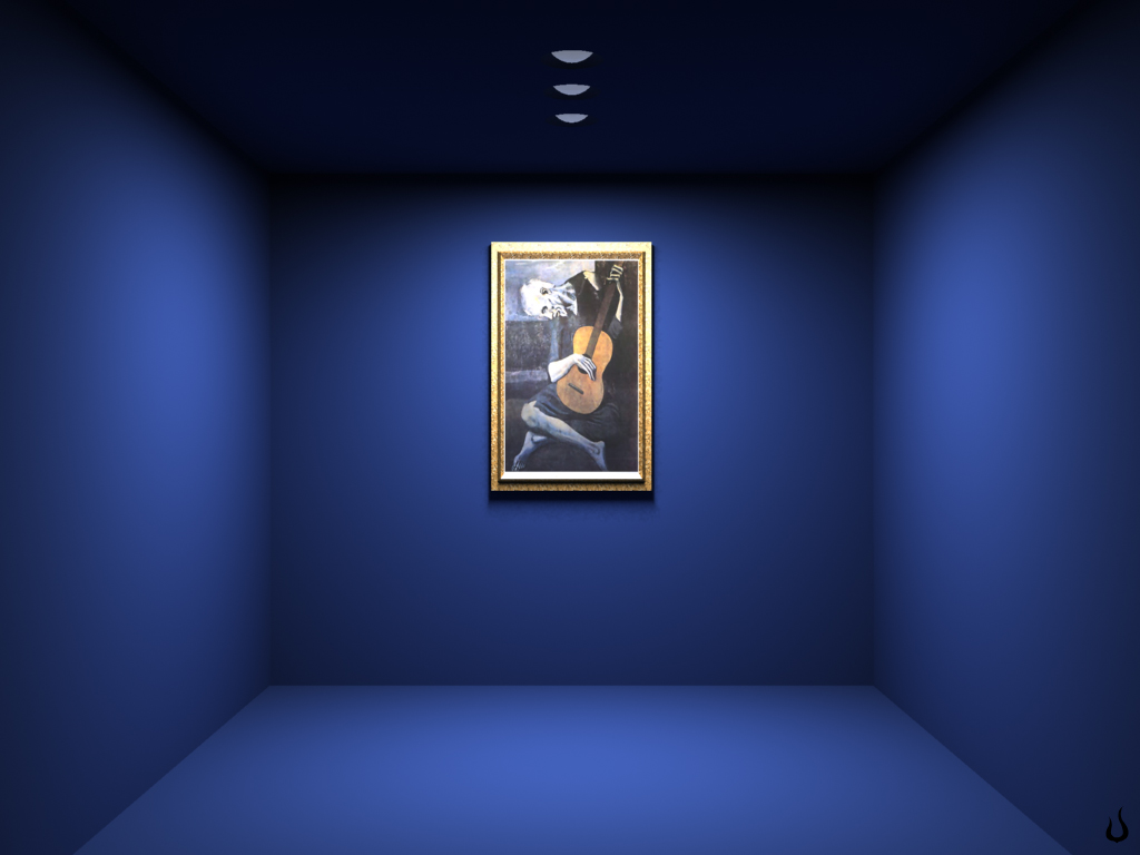 1024x768 blue room painting desktop pc and mac wallpaper