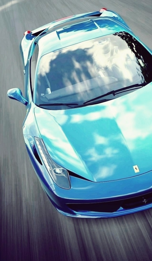 600x1024 Bright Blue Ferrari 458 Italia Galaxy Tab 2 Wallpaper