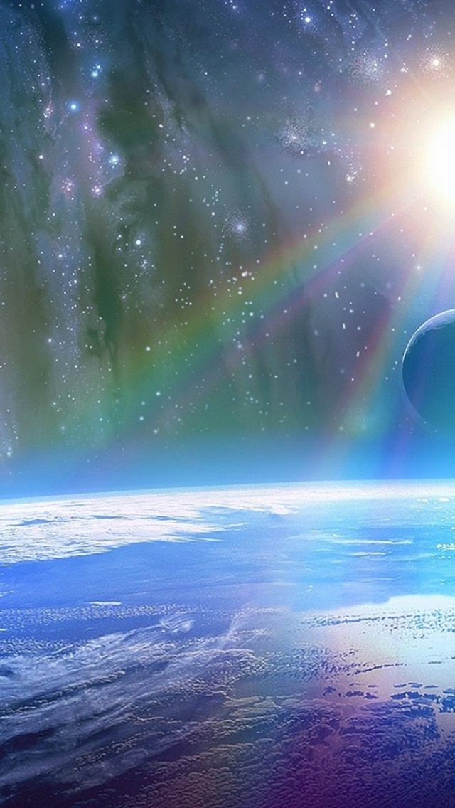 640x1136 Bright Sunshine Outer Space Iphone 5 Wallpaper