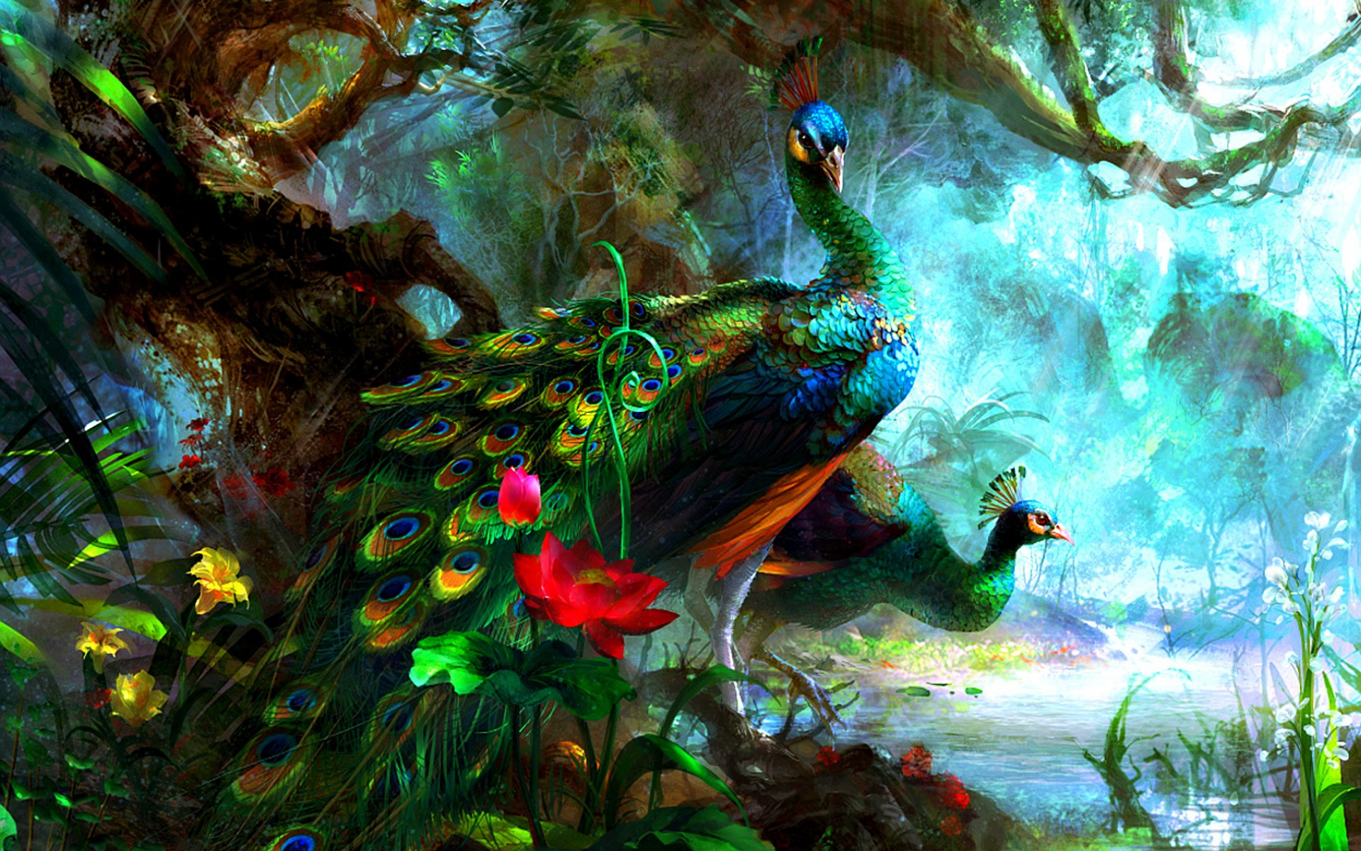 Peacock Art Photography Wallpaper Hq Backgrounds: Brightly Peacocks Stock Photos