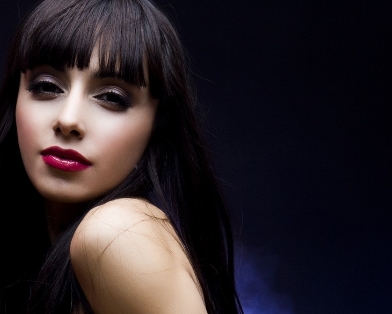 1280x1024 brunette girl with pink lips desktop pc and mac