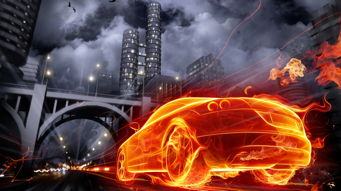 1366x768 burning car desktop pc and mac wallpaper
