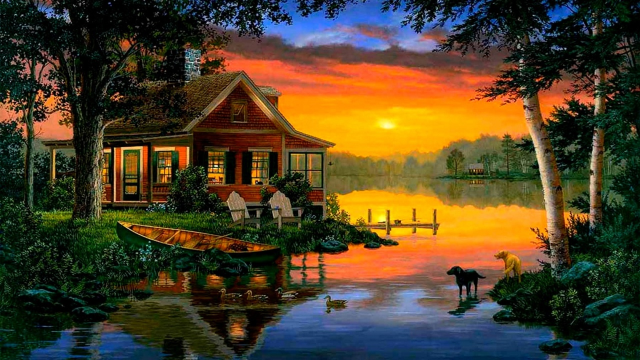 1280x720 Cabin Lake Ducks Dogs Dusk
