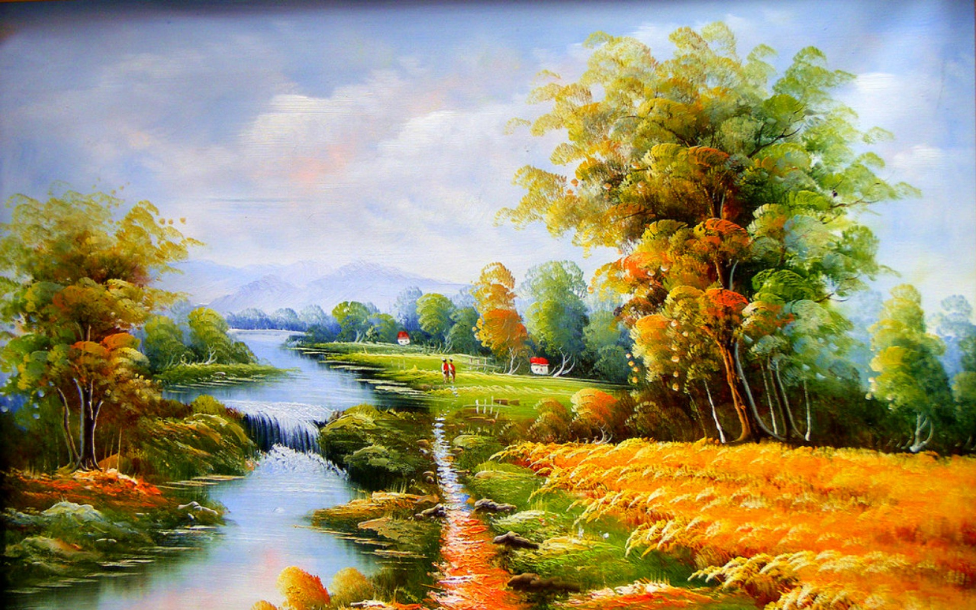 Calico Trees River Field Kids wallpapers