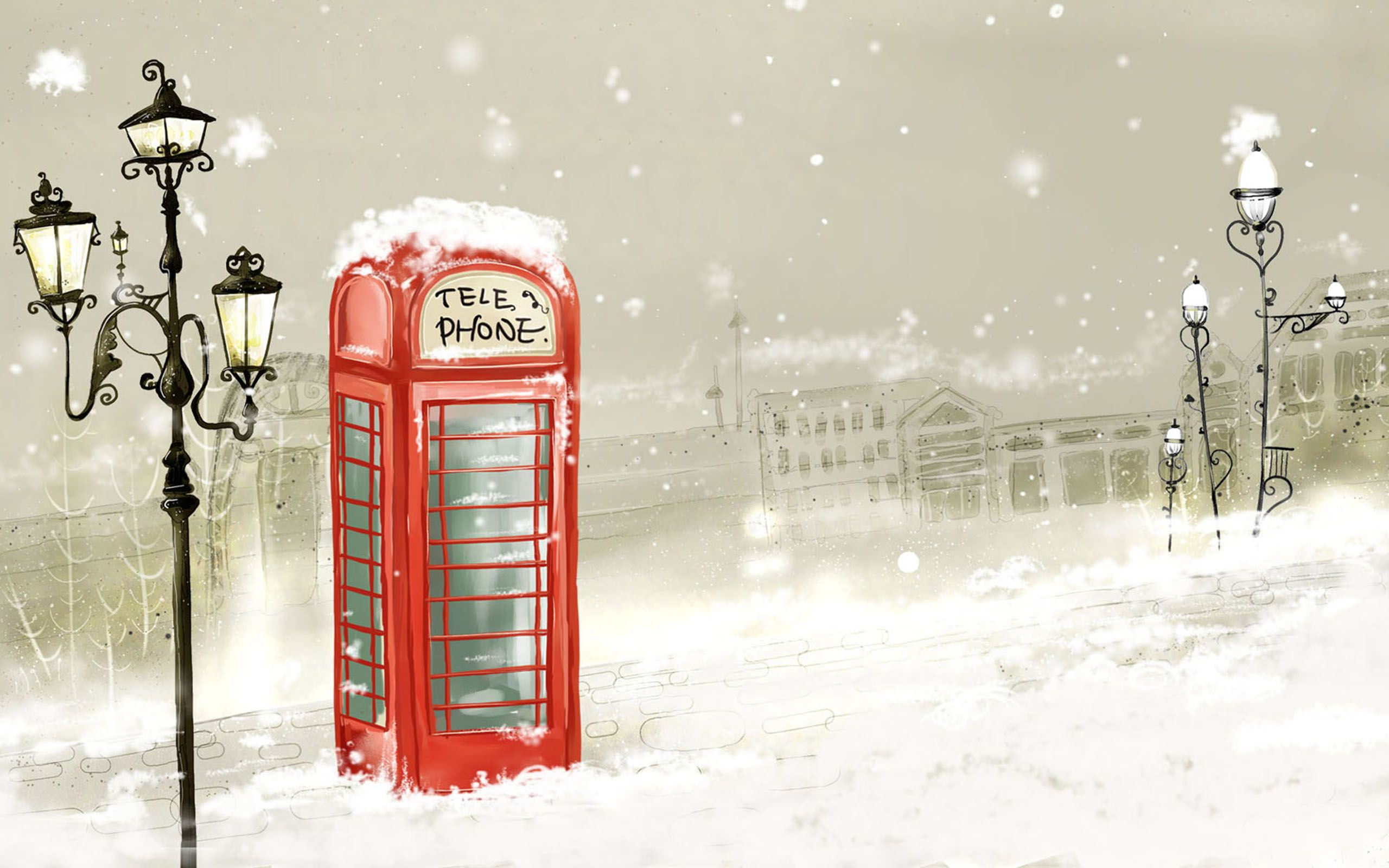 2560x1600 Call Box Lamps Snowy desktop PC and Mac wallpaper
