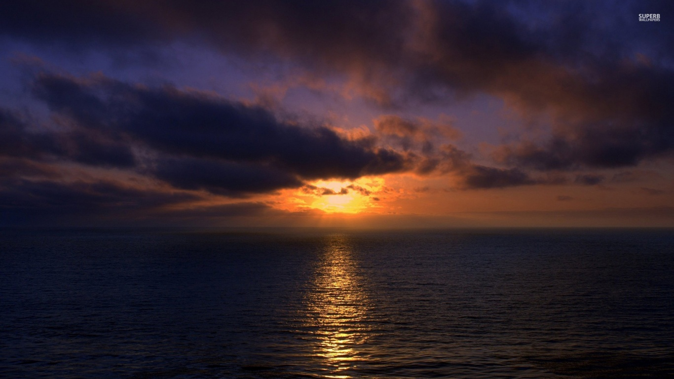 sunset clouds and ocean wallpaper - photo #7