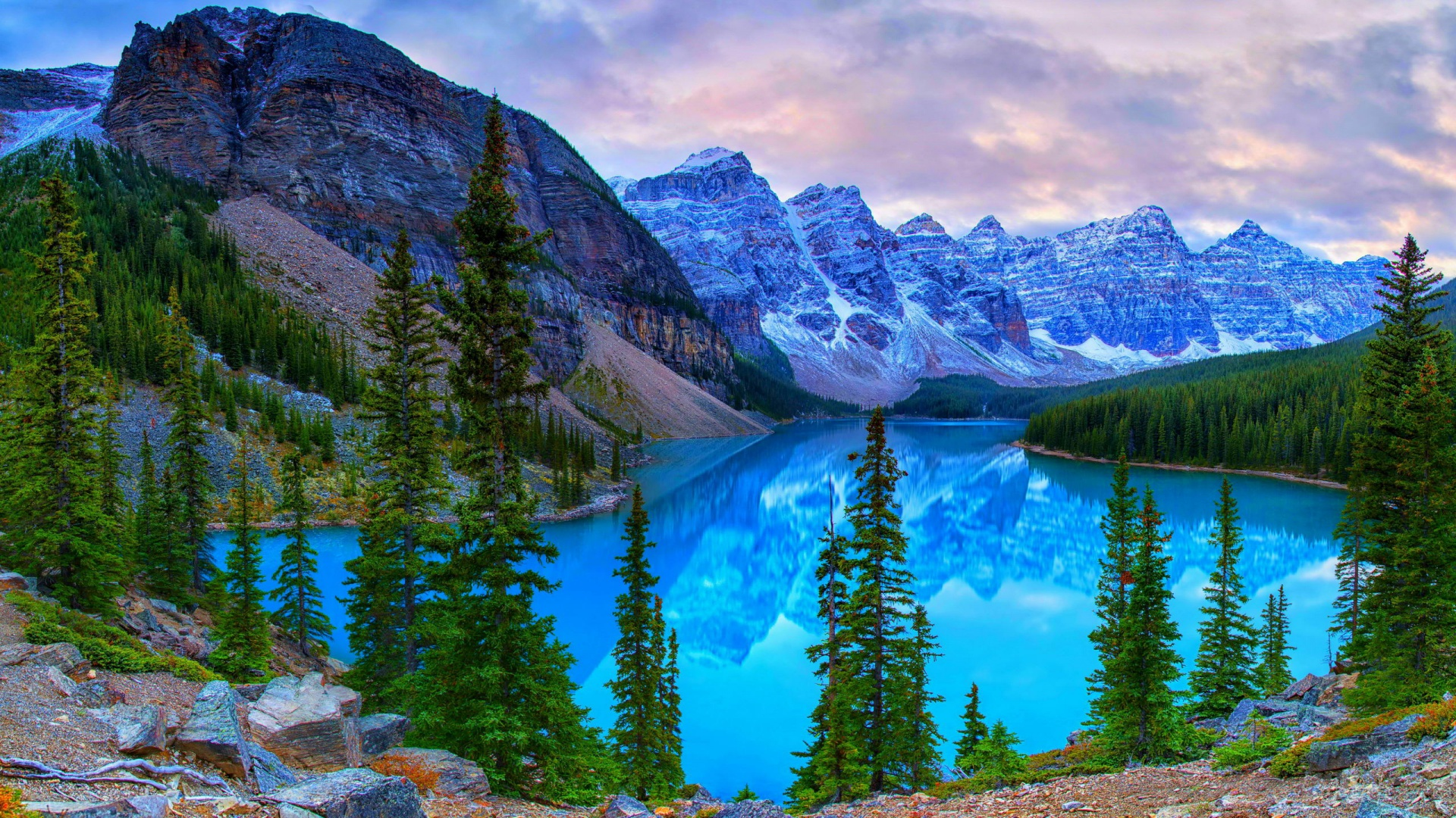 1920x1080 canada mountains lake moraine desktop pc and mac for Home wallpaper canada
