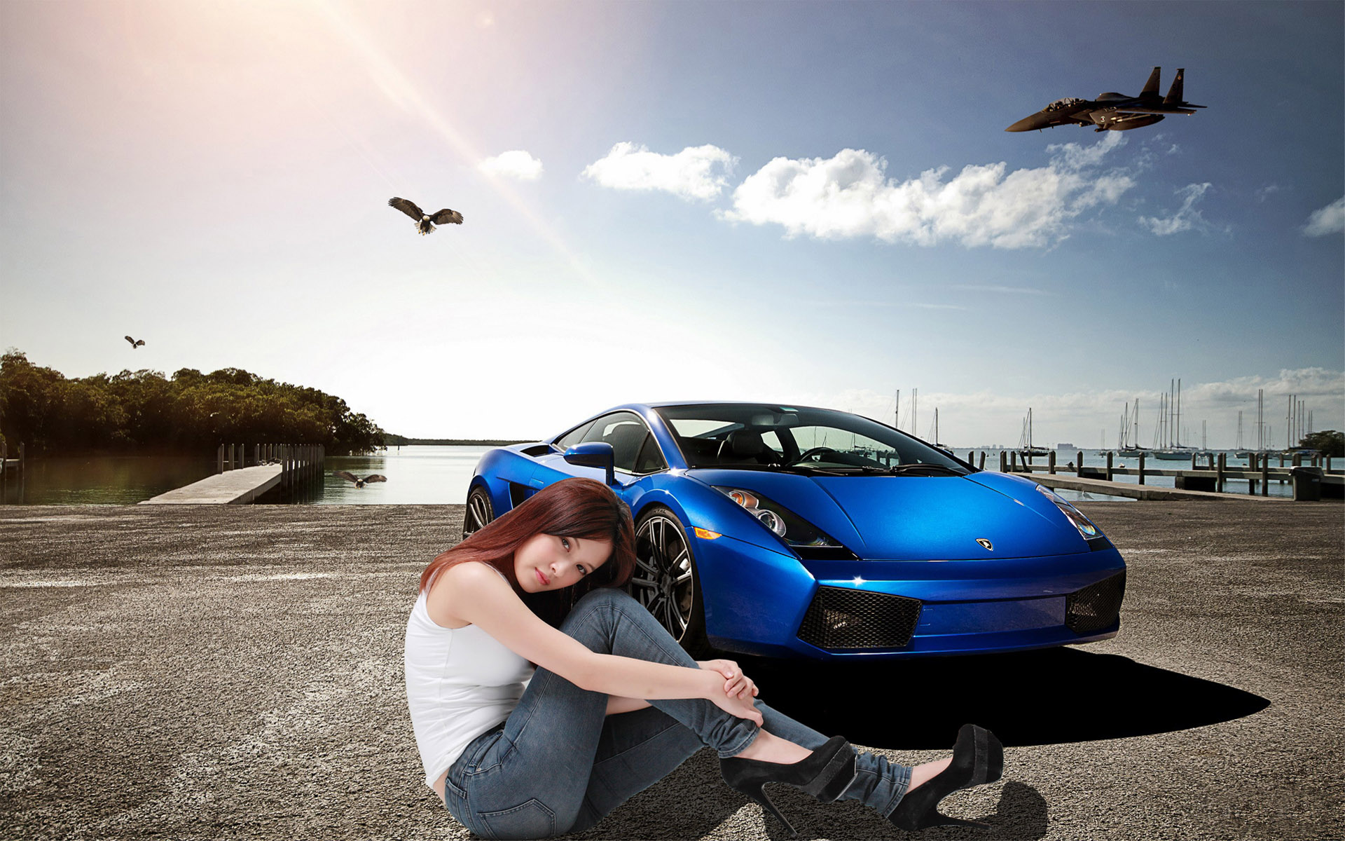 car and girl creative wallpape wallpapers | car and girl ...