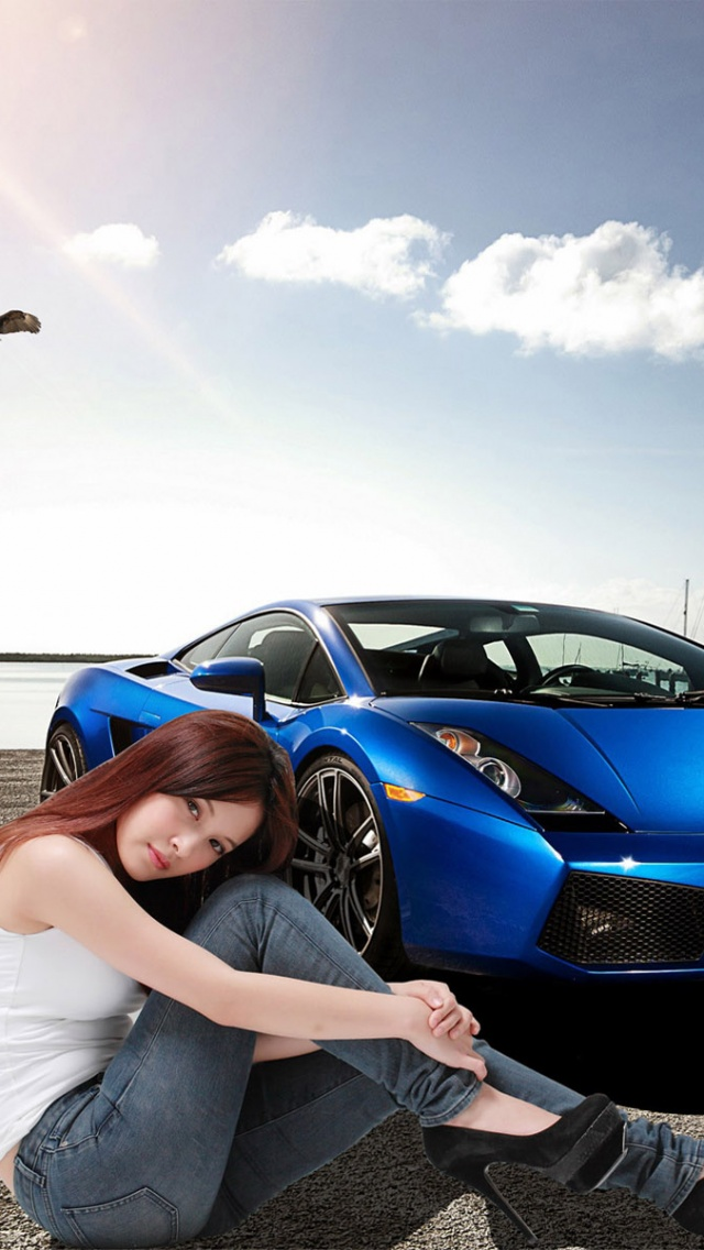 640x1136 Car And Girl Creative Wallpape Desktop Pc And Mac