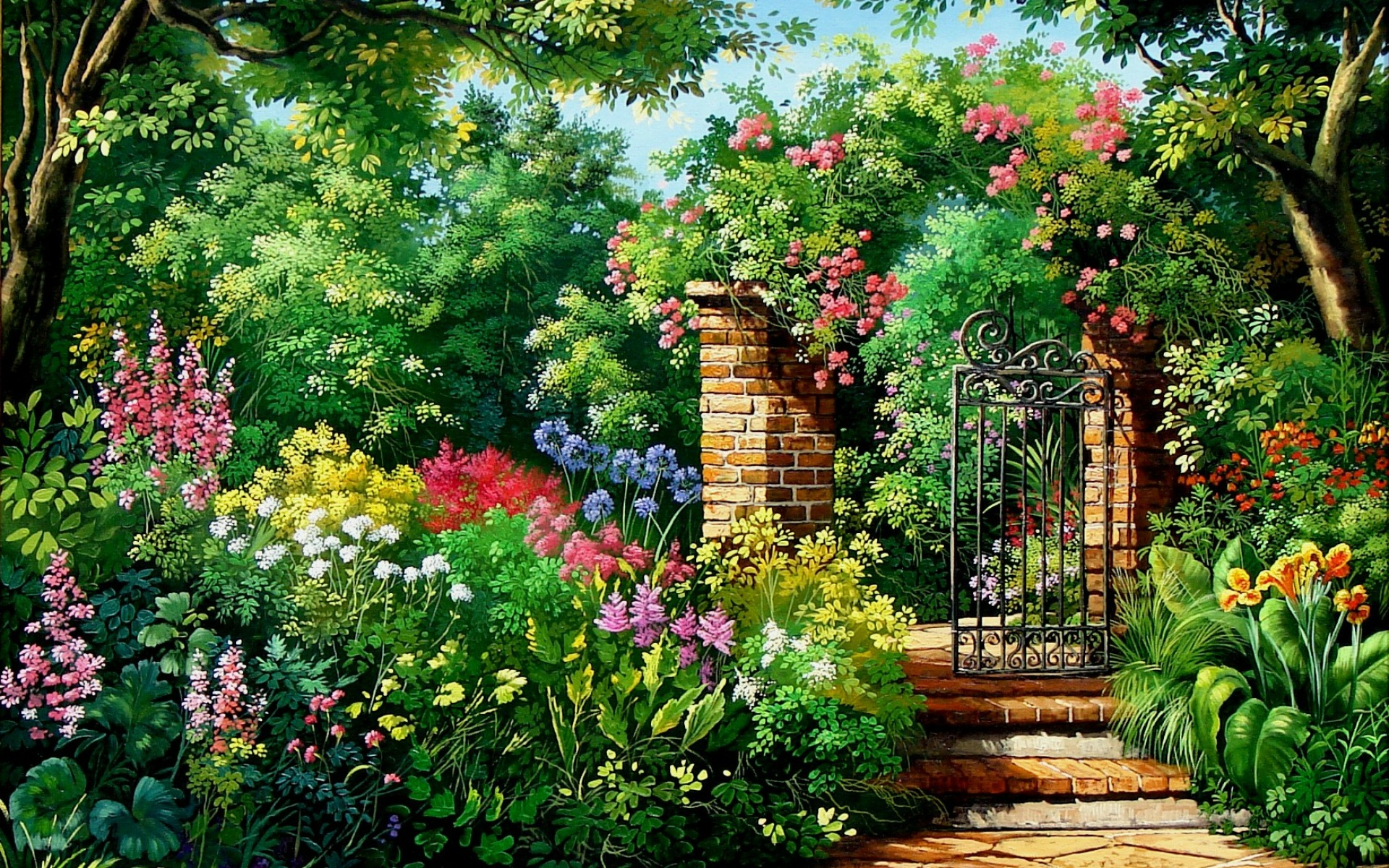 Charming flowers garden gate wallpapers charming for Wallpaper home and garden