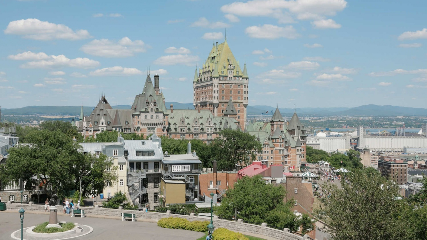 1366x768 chateau frontenac canada desktop pc and mac wallpaper for Home wallpaper canada