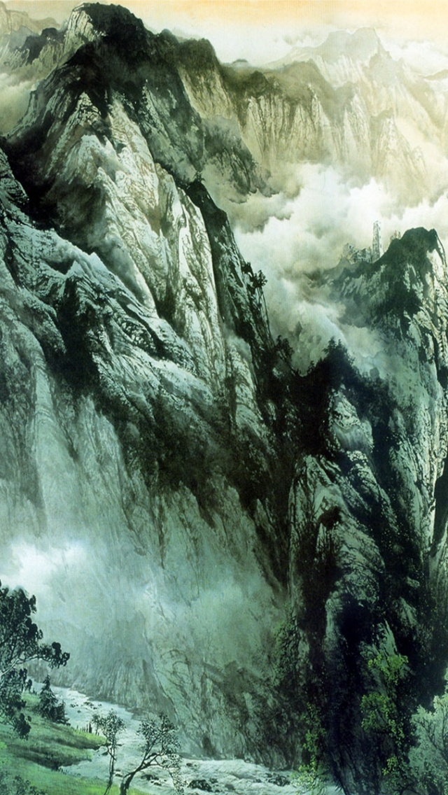 640x1136 Chinese Mountains Rivers Iphone 5 Wallpaper