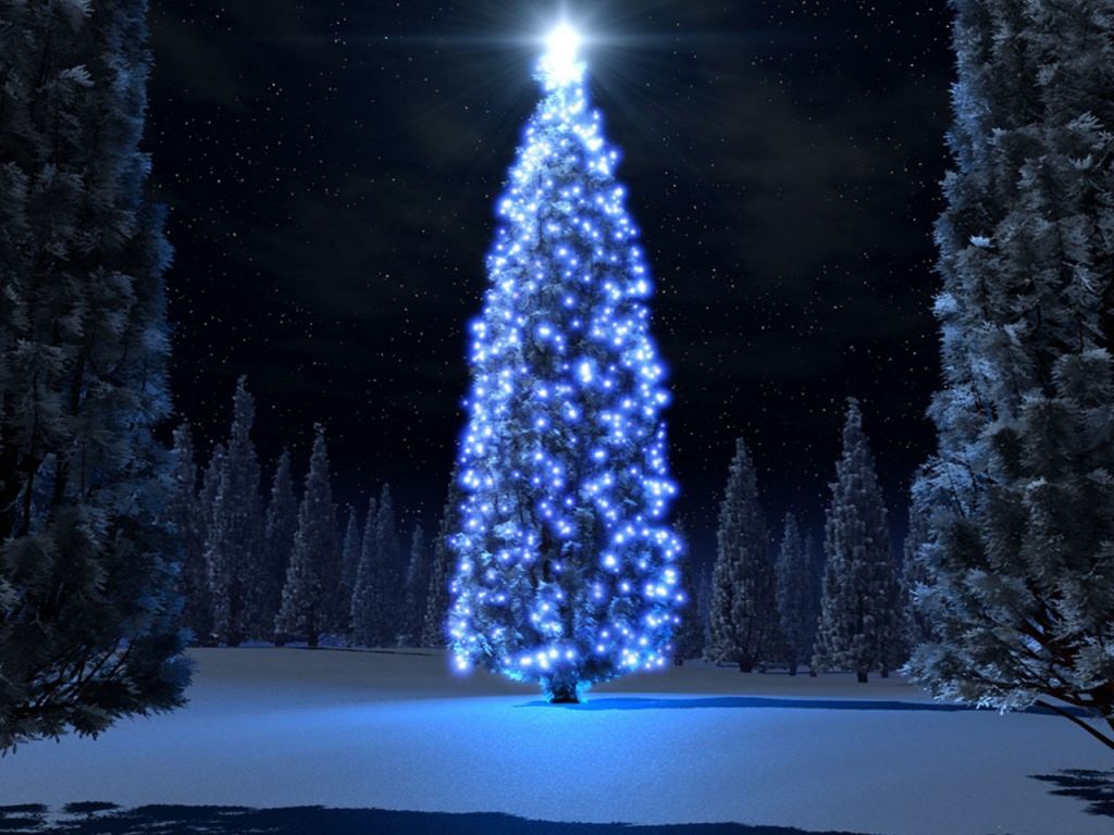 1024x768 Christmas blue tree