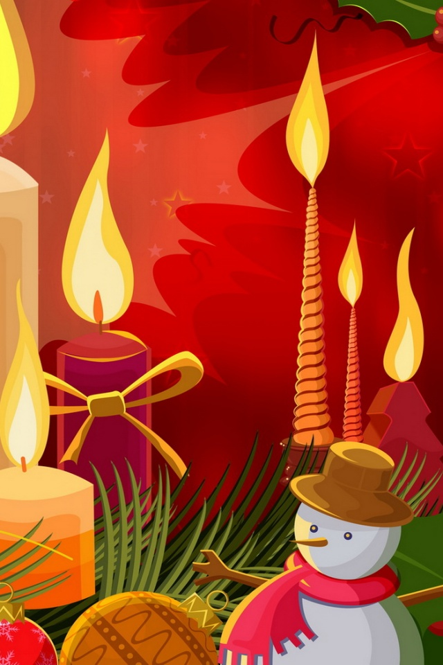 640x960 Christmas Candles Iphone 4 Wallpaper