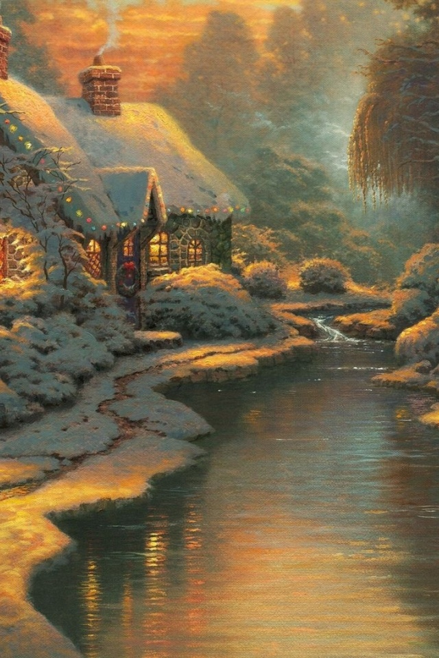 640x960 Christmas Cottage Iphone 4 Wallpaper