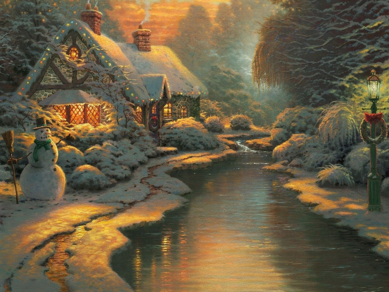 1280x960 Christmas Cottage Desktop Pc And Mac Wallpaper
