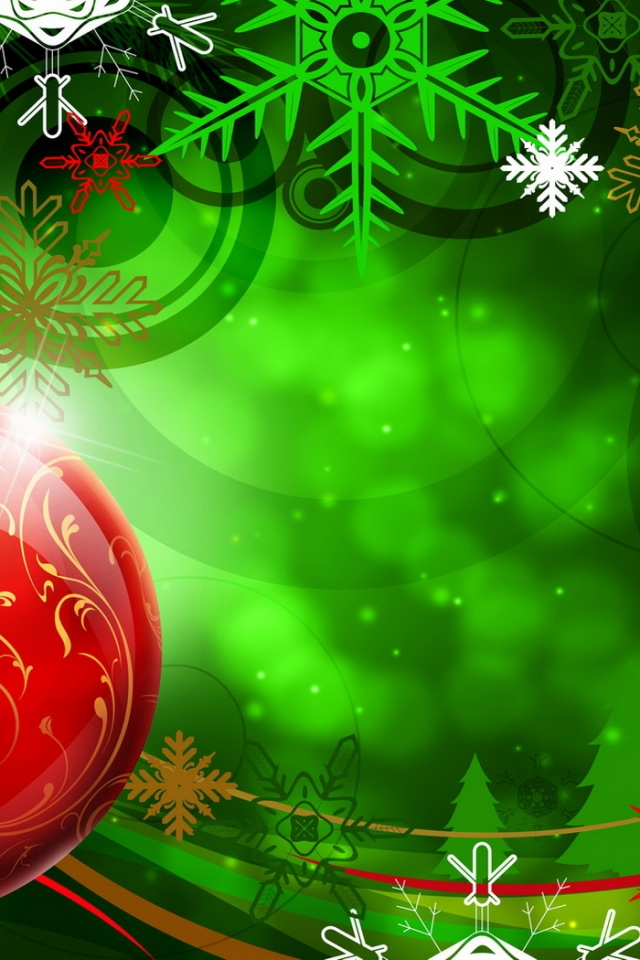 640x960 Christmas Red Ball Iphone 4 wallpaper