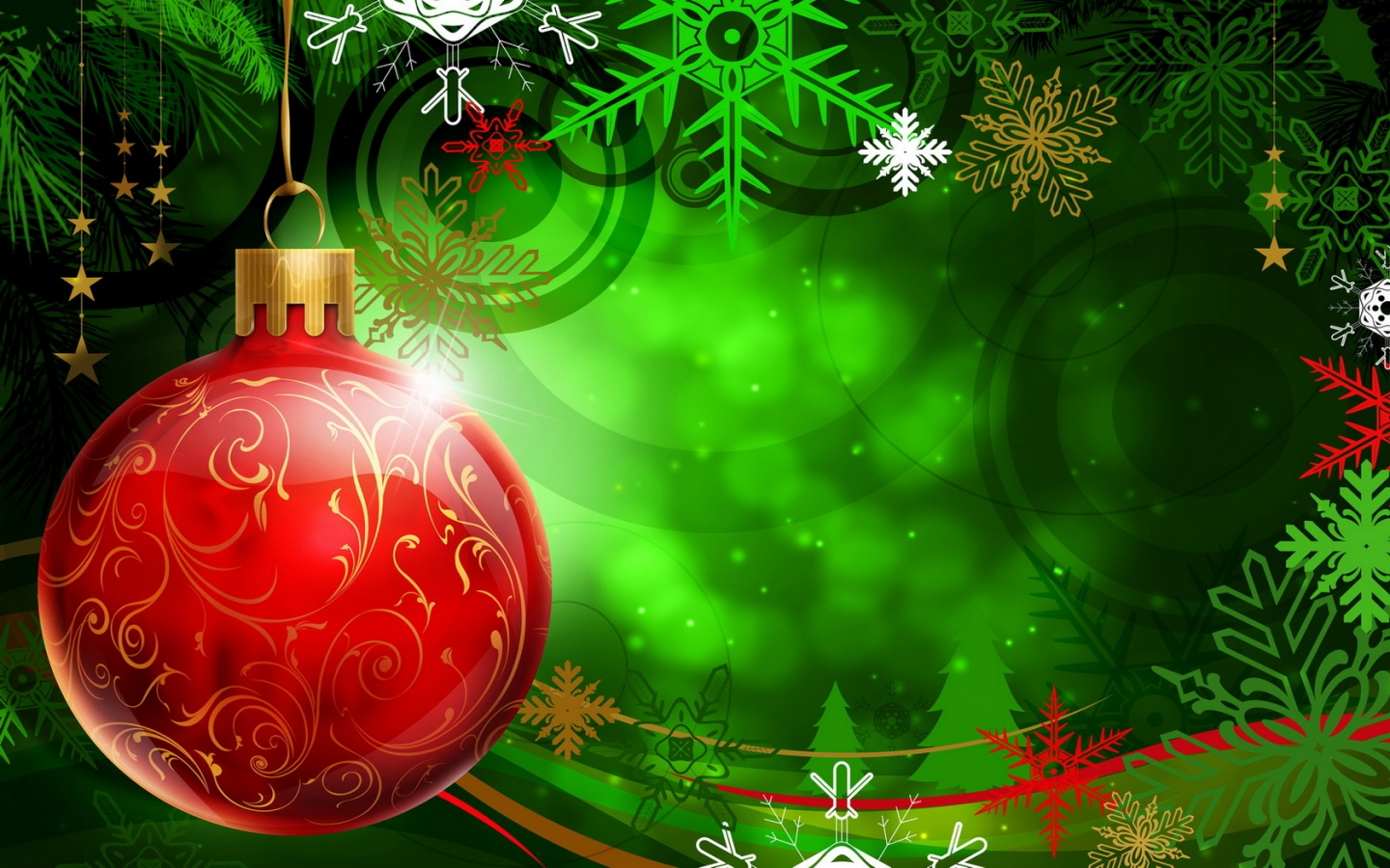 1440x900 christmas red ball desktop pc and mac wallpaper