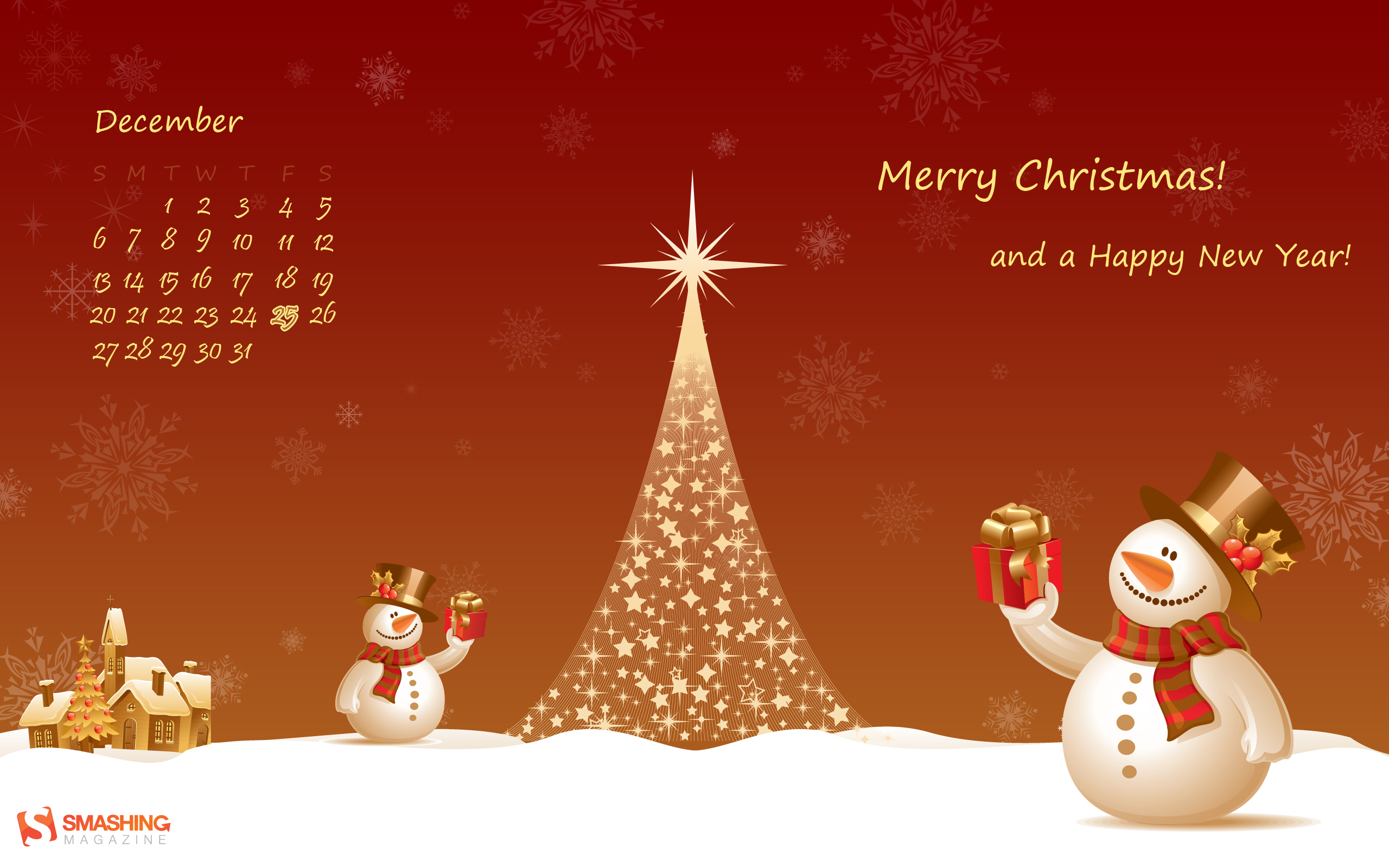 2560x1600 Christmas Snowman Desktop PC And Mac Wallpaper
