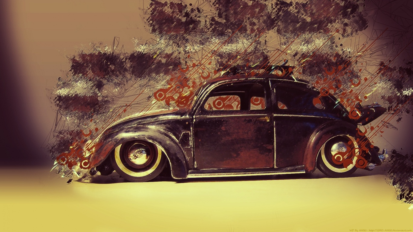 1366x768 Classic Car Abstract Desktop Pc And Mac Wallpaper