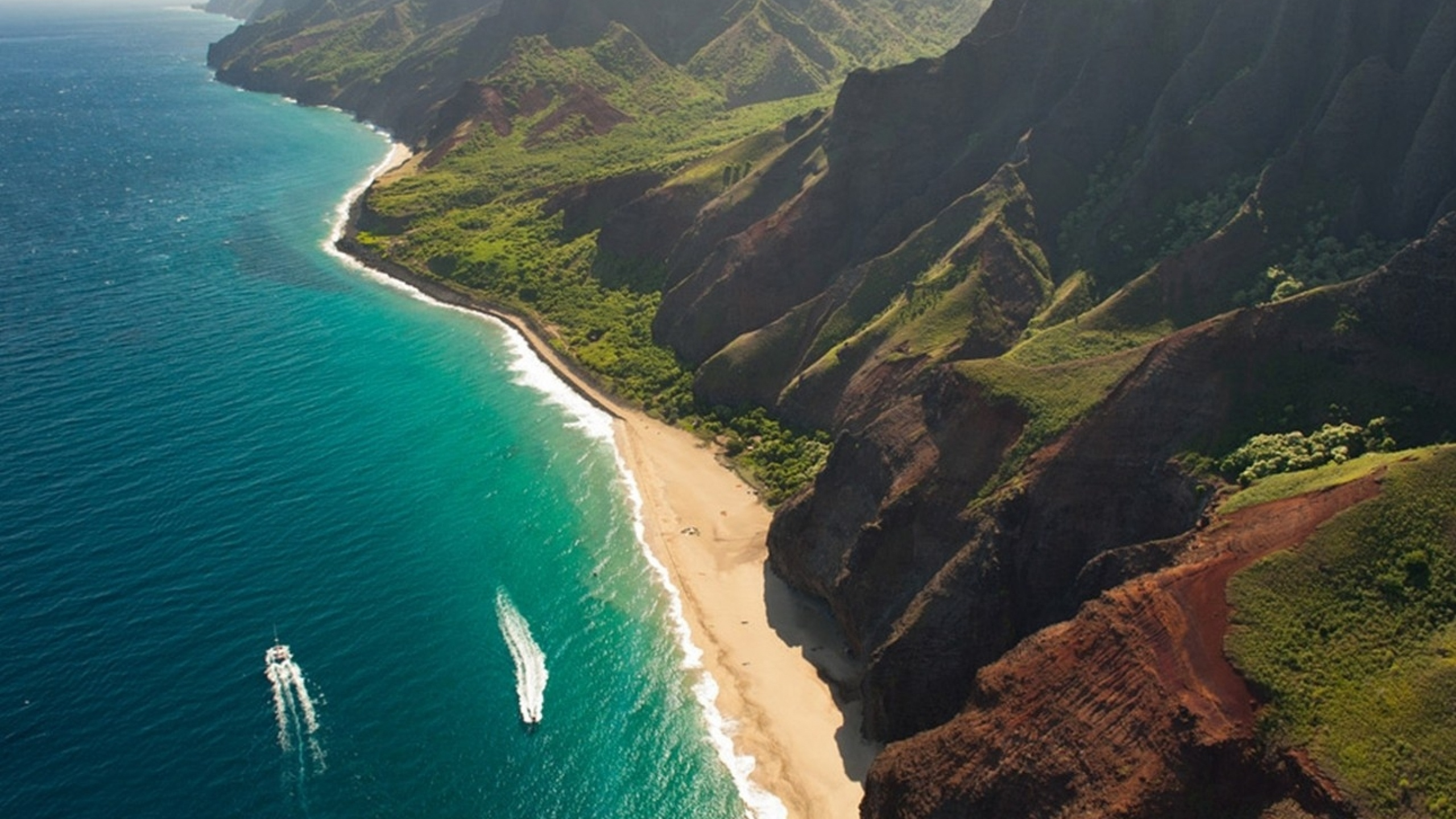 Kauai Wallpapers 54 Images: 2560x1440 Cliffs Ocean Kauai Beach Hawai Desktop PC And