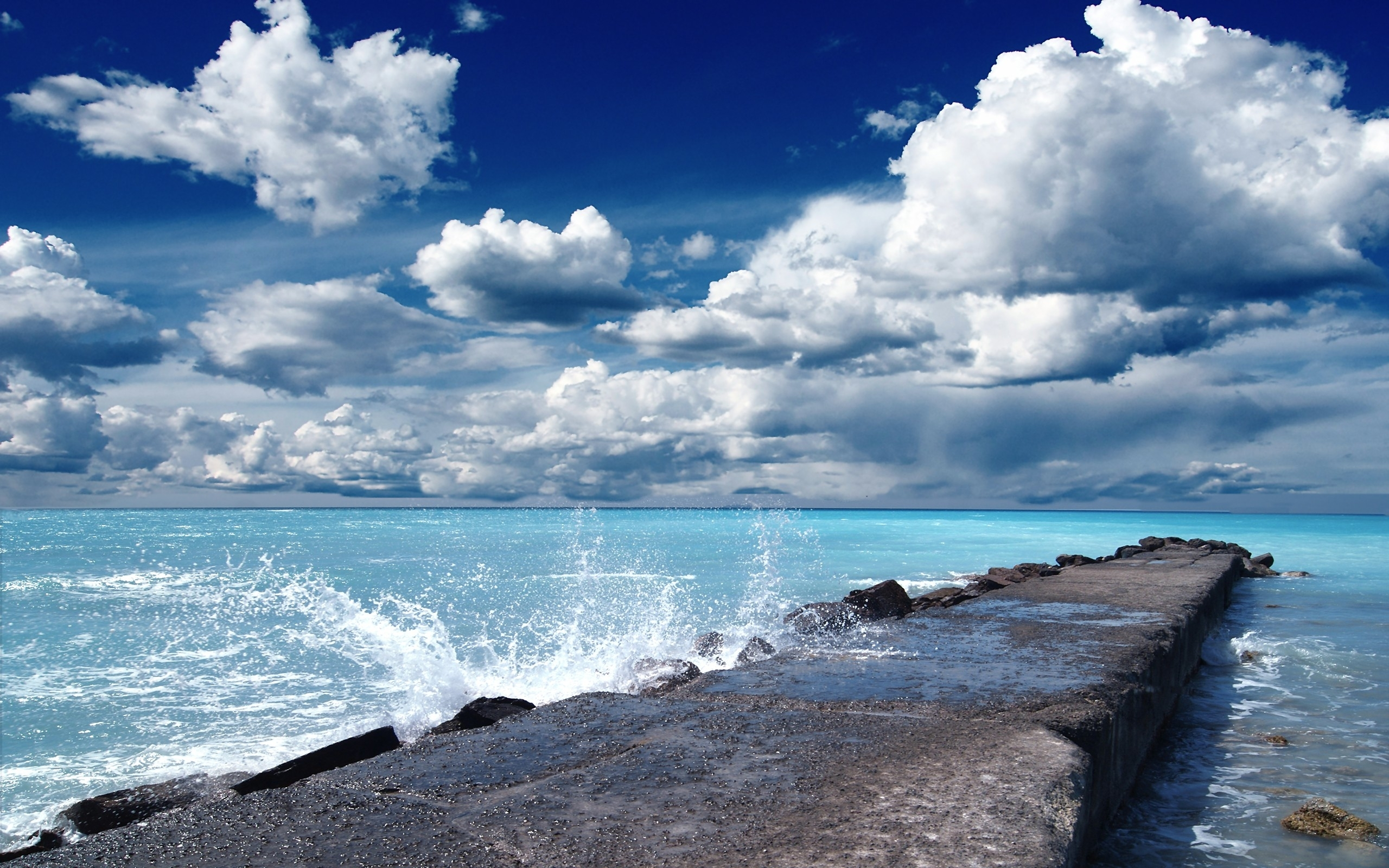Free Images 4k Wallpaper Beach Calm Cliff Clouds Hd: Clouds Dock Blue Sea Splashing Wallpapers