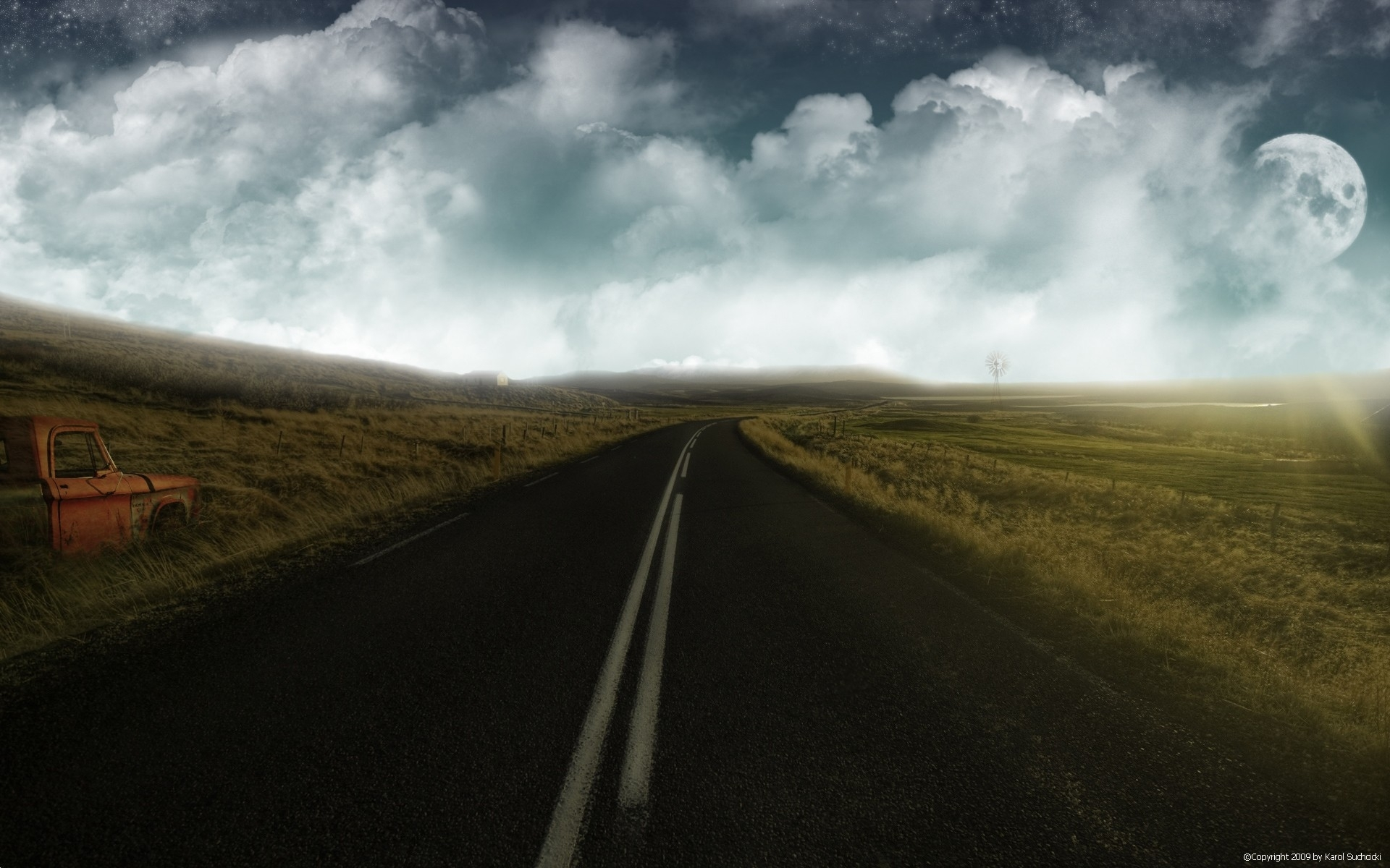 Clouds road moon fields car wallpapers clouds road - Space wallpaper road ...