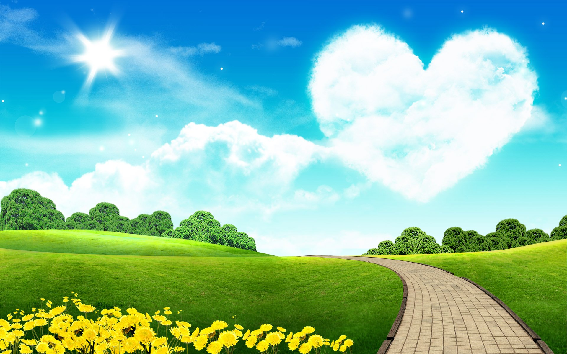 cloudy heart scenery bricks wallpapers cloudy heart scenery bricks