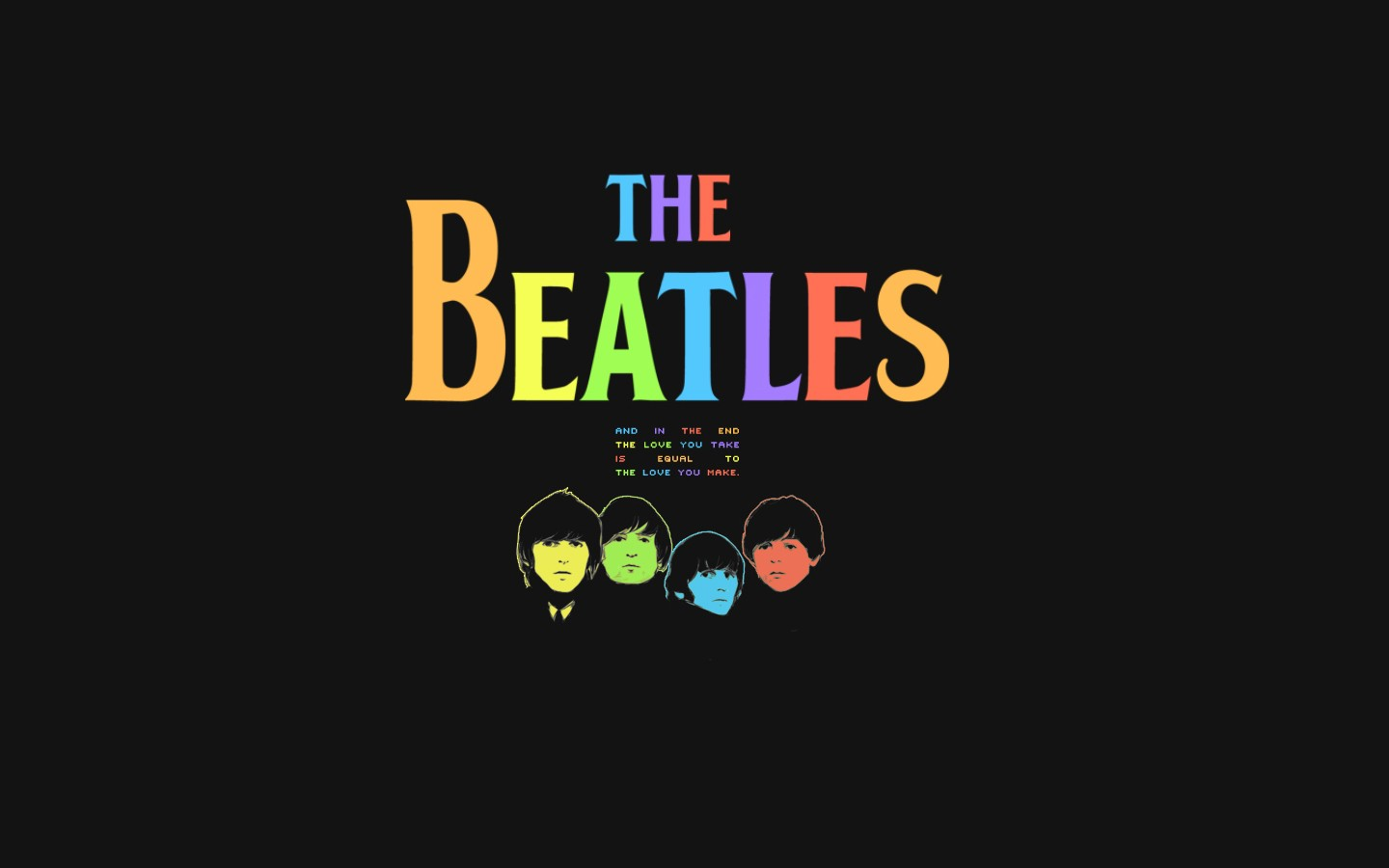 1440x900 Colorful Beatles desktop PC and Mac wallpaper
