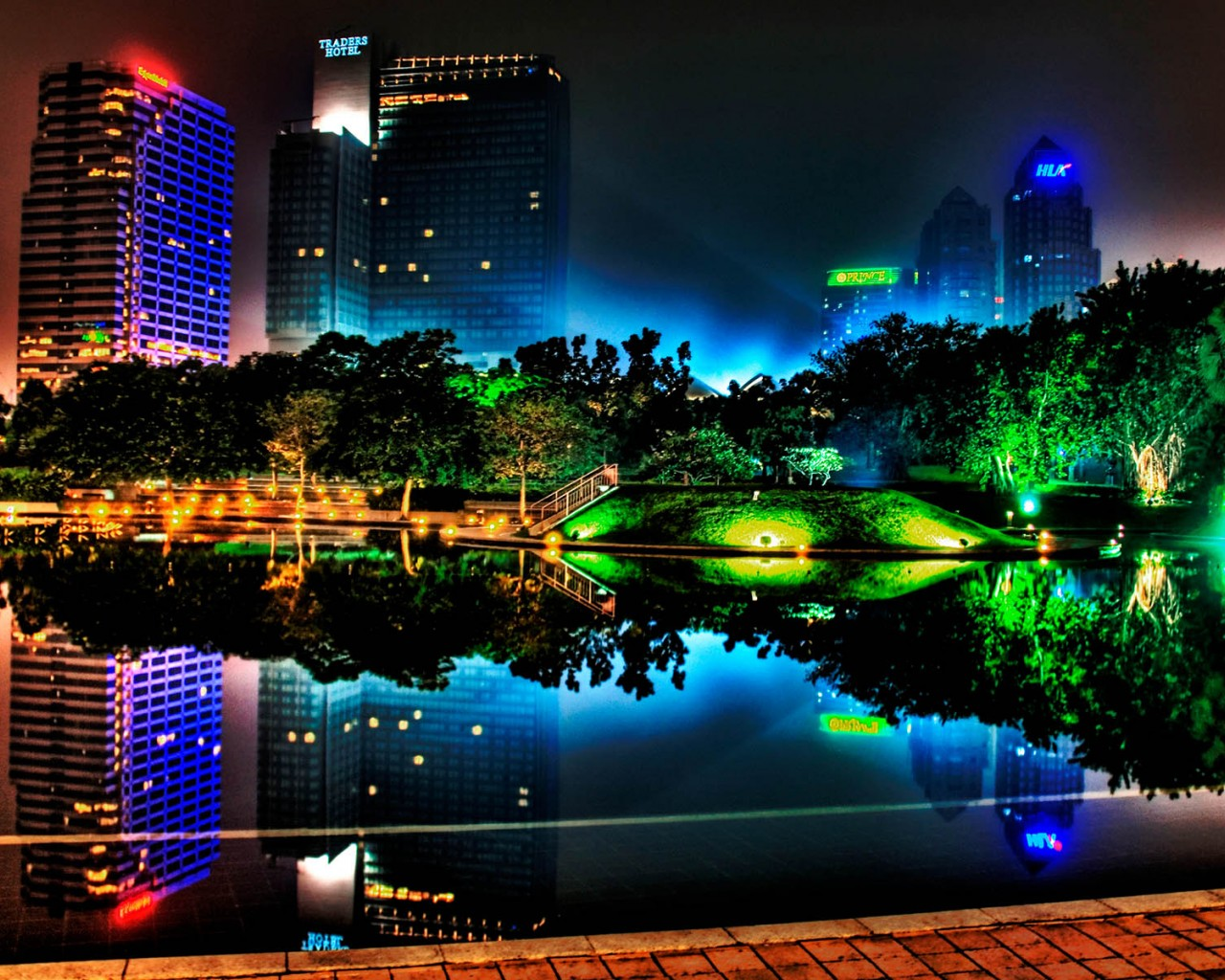 1280x1024 colorful night lights desktop pc and mac wallpaper