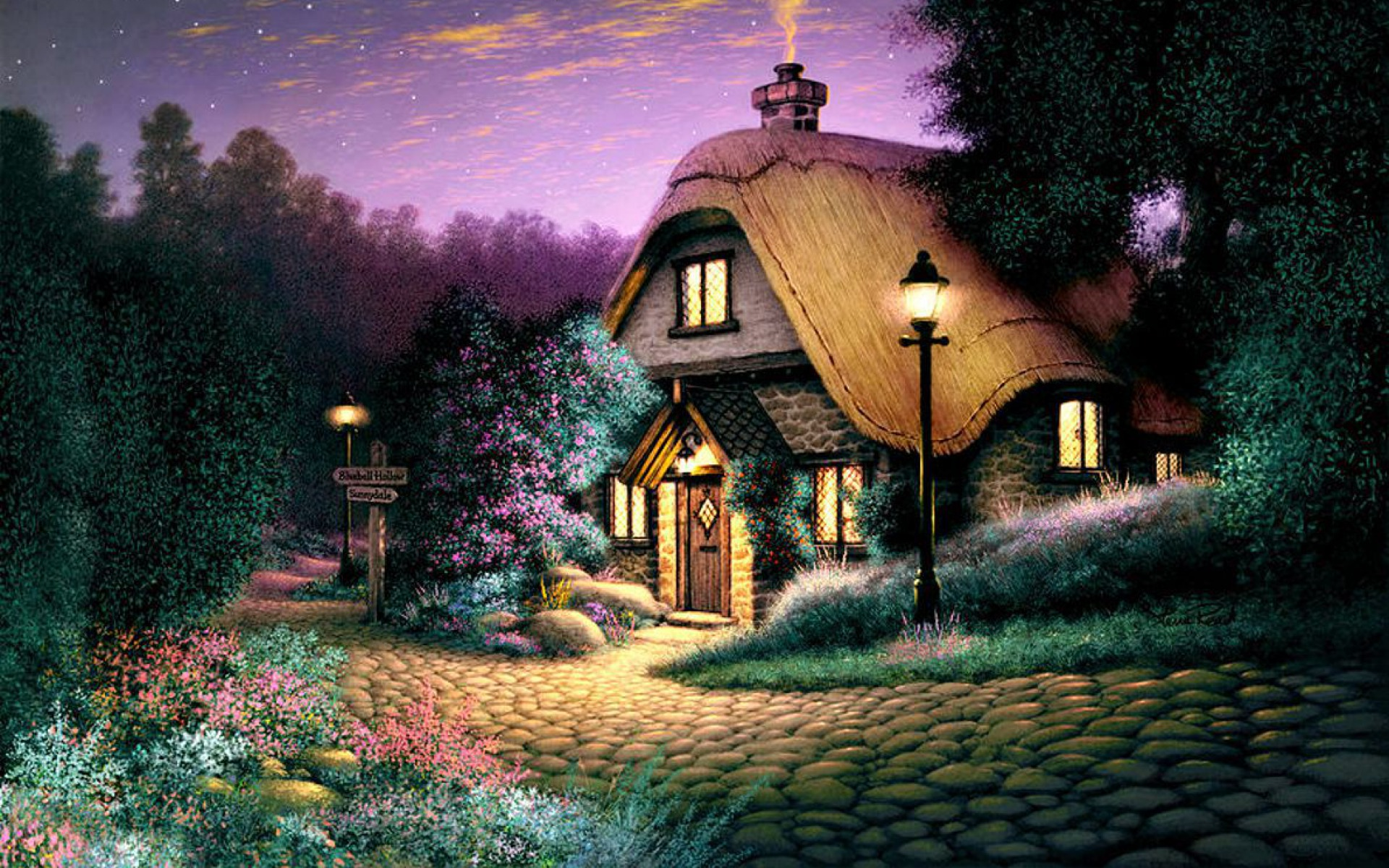 Cottage Cobblestone Evening wallpapers | Cottage ...