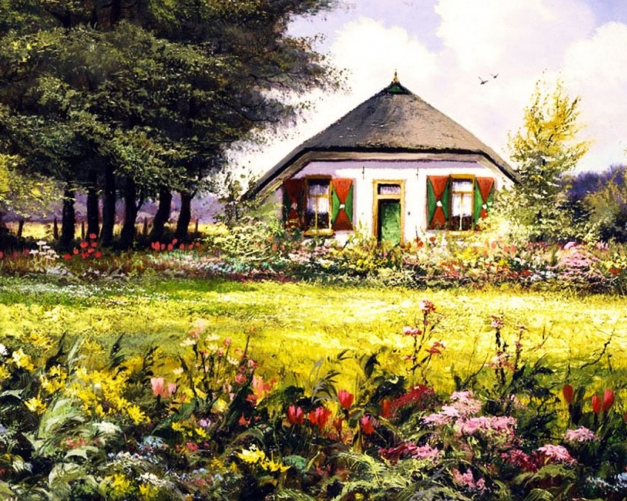 1280x1024 Country Home U0026 Pretty Garden