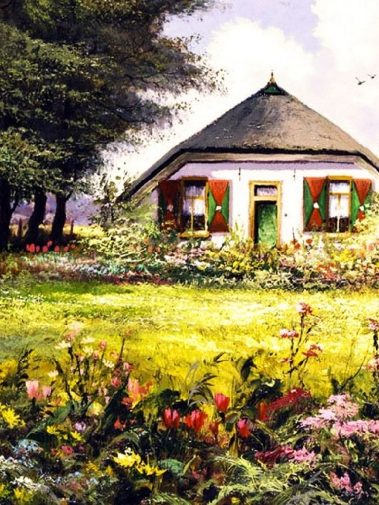 768x1024 country home pretty garden ipad wallpaper for Wallpaper home and garden