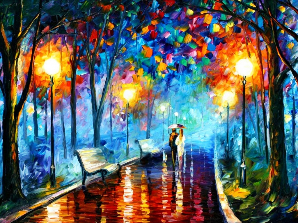 1024x768 Couple In The Park Painting
