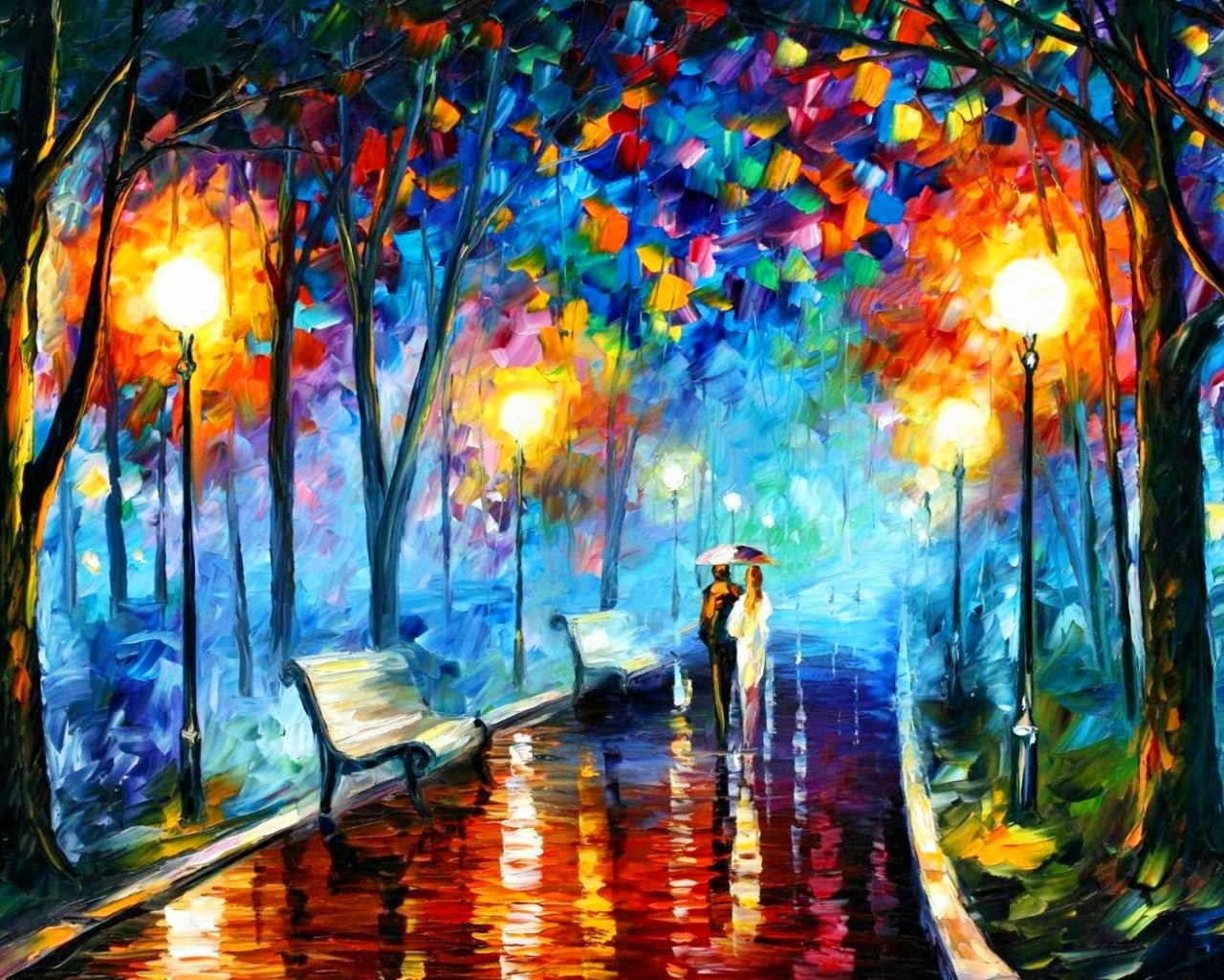 1280x1024 Couple In The Park Painting