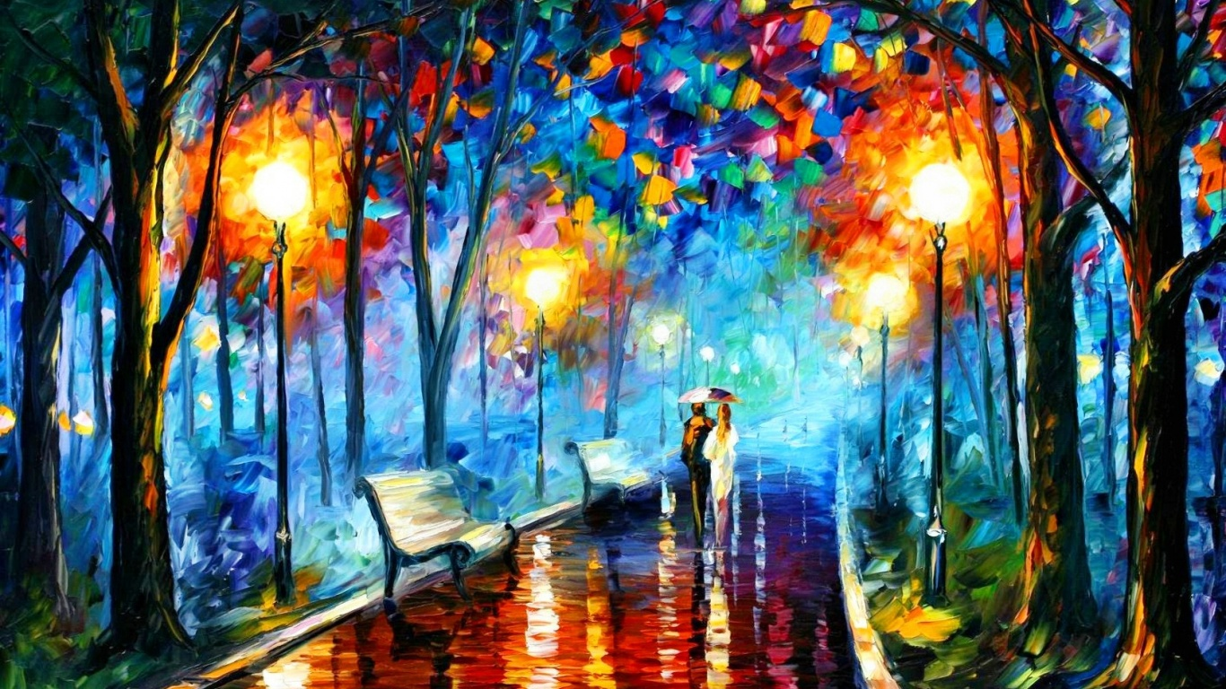 1366x768 Couple In The Park Painting