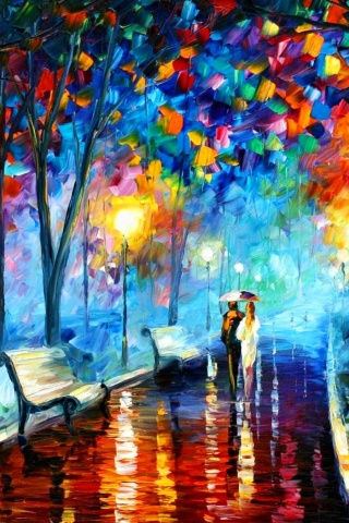 320x480 Couple In The Park Painting