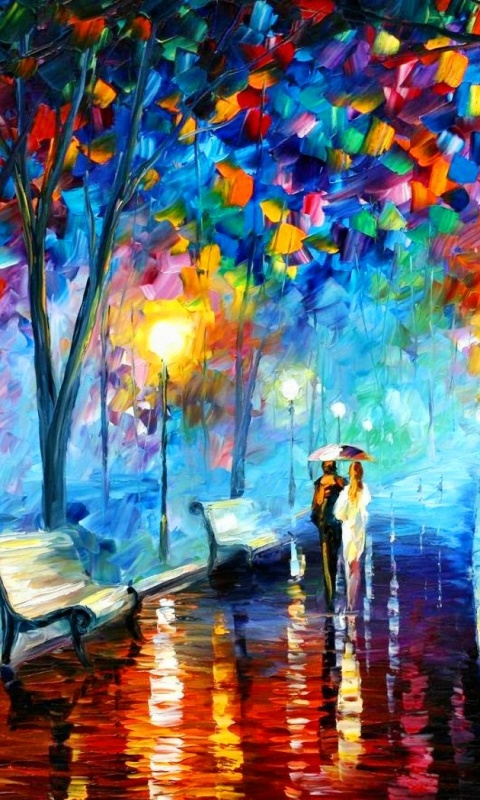 480x800 Couple In The Park Painting