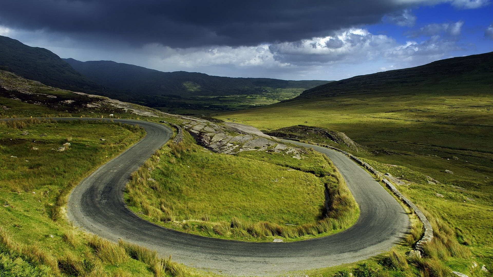 1920x1080 Curvy Mountain Road Nature Desktop PC And Mac Wallpaper